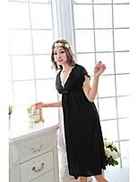 Jarretière Vêtement de nuit Femme,Sexy Couleur Pleine-Moyen Coton Aux femmes