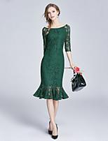 Для женщин На выход На каждый день Изысканный Оболочка Платье Однотонный,Вырез лодочкой До колена Рукав ½ Полиэстер Весна ЛетоСо
