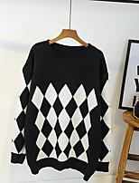 Normal Pullover Femme Décontracté / Quotidien simple,Couleur Pleine Géométrique Col Arrondi Manches Longues Coton Printemps Automne Moyen