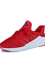 Hombre-Tacón Plano-Confort Suelas con luz-Zapatillas de deporte-Exterior Deporte Informal-Tul-Negro Gris Rojo