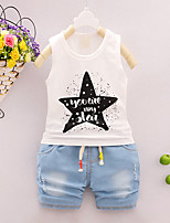 Boy's Going out Casual/Daily Sports Print Sets Cotton Summer Sleeveless Pants 2 Piece Clothing Set Children's Garments