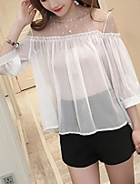 Women's Casual/Daily Simple Spring Summer Blouse,Color Block Round Neck ¾ Sleeve Polyester Medium