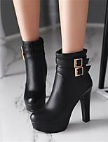Damen-Stiefel-Lässig-PU-Blockabsatz-Komfort-Weiß Schwarz Beige