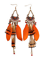 Women's Drop Earrings Jewelry Bohemian Tassels Fashion Gem Feather Alloy Jewelry Jewelry For Party Gift Casual