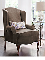 Stretch Pique Shorty Studio Sized Wing Chair Slipcover Damask
