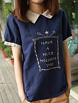 Women's Casual/Daily Simple T-shirt,Solid Shirt Collar Short Sleeve Cotton
