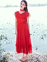 Damen Swing Kleid-Ausgehen Solide V-Ausschnitt Maxi Kurzarm Seide Sommer Mittlere Hüfthöhe Mikro-elastisch Dünn