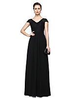 TS Couture Formal Evening Dress - Elegant Sheath / Column V-neck Floor-length Chiffon Lace with Lace Sash / Ribbon Pleats