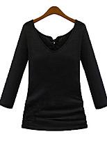 Autumn new Slim tight stretch black close fashion sexy V-neck long-sleeved t-shirt