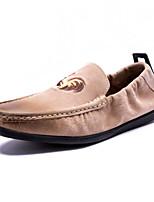 Черный Хаки-Для мужчин-Для прогулок Повседневный-Замша-На плоской подошве-Удобная обувь Мокасины Светодиодные подошвы Пляжная обувь-