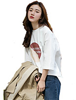 Women's Going out Casual/Daily Simple Spring Summer T-shirt,Solid Round Neck ½ Length Sleeve Cotton Medium