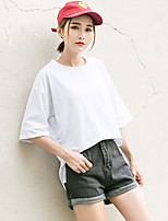 Women's Casual/Daily Simple Street chic Summer Fall T-shirt,Solid Round Neck ¾ Sleeve Cotton Medium