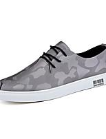 Черный Серый-Для мужчин-Для прогулок Повседневный-Кожа-На плоской подошве-Светодиодные подошвы Удобная обувь-Кеды