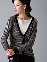 Women's Casual/Daily Short Cardigan,Striped V Neck Long Sleeve Acrylic Spring Fall Medium Stretchy