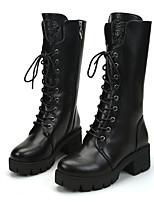 Mujer-Tacón Plano-Confort-Botas-Informal-PU-Negro