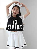Girl Casual/Daily Check Sets,Rayon Summer Short Sleeve Clothing Set