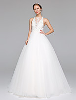 LAN TING BRIDE A-line Wedding Dress Simply Sublime Sweep / Brush Train Bateau Lace Tulle with Appliques Beading