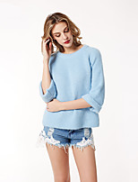 Women's Going out Casual/Daily Short Pullover,Solid Round Neck Long Sleeve Acrylic Winter Medium Micro-elastic
