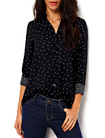 Women's Going out Simple Spring Summer Blouse,Polka Dot V Neck ¾ Sleeve Polyester Thin