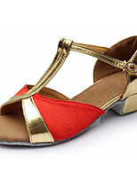 Customizable Kid Girl Dance Shoes Leatherette Fabric Leatherette Fabric Latin Sandals Heels Cuban Heel Performance Gold/Sliver/Red/Blue