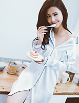 Women Satin & Silk Nightwear,Push-Up Solid-Medium Chiffon White Blue Red Multi-color Women's