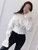 Women's Going out Casual/Daily Work Simple Cute T-shirt,Solid Boat Neck Long Sleeve Cotton Medium