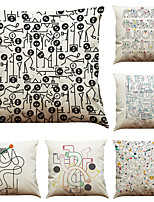 Set of 6  Abstract Geometric Line Pattern  Linen Pillowcase Sofa Home Decor Cushion Cover (18*18inch)