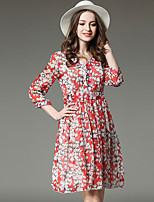 Spring Summer Women For Dresses Going out Casual V Neck  Sleeve Print Chiffon Dress