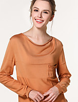 Women's Casual/Daily Regular Pullover,Solid Round Neck Long Sleeve Linen Spring Fall Thin Micro-elastic