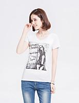 Feminino Camiseta Casual SimplesEstampado Algodão Decote Redondo Manga Curta