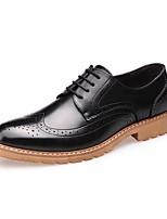 Черный Коричневый-Для мужчин-Для офиса Повседневный-Кожа-На низком каблуке-Баллок обувь-Туфли на шнуровке