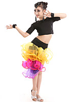 Shall We Latin Dance Outfits Kid Performance Tulle Milk Fiber Rhinestones Ruffles Side-Draped 7 Pieces