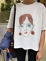 Real shot Korean loose Department funny girl printing simple short-sleeved shirt TEE has a large cargo