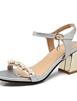 Feminino-Sandálias-Chanel-Salto Grosso-Dourado Preto Prata-Couro Ecológico-Escritório & Trabalho Social Festas & Noite