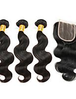 Tissages de cheveux humains Cheveux Brésiliens Ondulation naturelle 6 Mois 4 Pièces tissages de cheveux