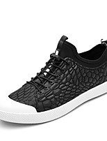 Men's Sneakers Spring Summer Fall Comfort Leather Outdoor Casual Flat Heel Lace-up Black Red