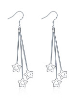 Classic Silver Plated Triple Five Five-Pointed Star Dangle Earrings for Party Women Jewelry Accessiories