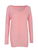 Women's Going out Casual/Daily Regular Pullover,Solid V Neck Long Sleeve Cotton Spandex All Seasons Medium Micro-elastic
