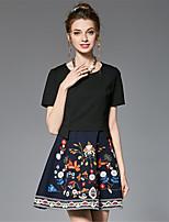 Damen A-Linie Zweiteiler Skater Kleid-Ausgehen Lässig/Alltäglich Party/Cocktail Retro Anspruchsvoll Einfarbig Stickerei Rundhalsausschnitt