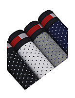 4Pcs/Lot Men's Fashion Sexy Dots Printed Boxers Underwear Cotton Soft Panties
