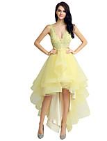 Коктейль платье бальное платье V-образным вырезом до пола кружева тюль с бисером кружева