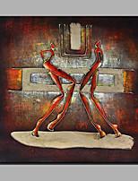 Ручная роспись Абстракция Люди Квадратная,Modern 1 панель Холст Hang-роспись маслом For Украшение дома