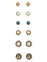 Stud Earrings Euramerican Fashion Vintage Alloy Round Jewelry For Daily 1set