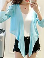 Feminino Camiseta Casual Formal Fofo Moda de Rua Primavera Verão,Sólido Elastano Decote V Manga ¾ Fina