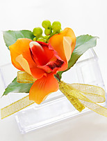 Wedding Flowers Free-form Lilies Boutonnieres Wedding Party/ Evening Yellow/Orange Satin