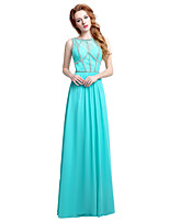 Вечернее платье из шифона / колонки с бриллиантами длиной до пола, шифон с бисером