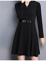 Damen A-Linie Kleid-Lässig/Alltäglich Anspruchsvoll Solide V-Ausschnitt Übers Knie Langarm Andere Alle Saisons Mittlere Hüfthöhe