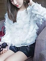 Feminino Camiseta Casual Fofo Primavera Verão,Sólido Poliéster Decote Redondo Manga Longa Média