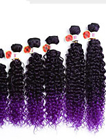 ombre brown synthetic kinky curly hair bundles 6pcs/pack synthetic deep curly kanekalon fibercurly hair bundles cheap price synthetic jerry curl weave
