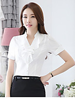 Women's Casual/Daily Simple Spring Summer Shirt,Solid Standing Collar Short Sleeve Cotton Medium